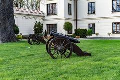 在一个巴洛克式的宫殿前面的大炮 库存图片