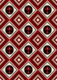 在一个黑圈子的尾花在长菱形的红色背景 免版税库存照片