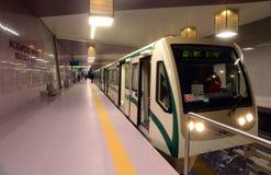 在一个驻地的地铁在索非亚, 2015年4月2日的保加利亚 免版税库存照片