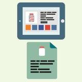 在一个水平的状态与一家开放互联网药房和一份传单的片剂与在平的样式的这医学 免版税库存图片