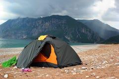 在一个离开的海滩的帐篷, Cirali,土耳其 库存图片
