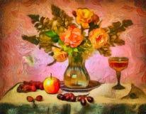 在一个水晶花瓶的玫瑰 库存照片