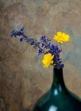 在一个绿松石花瓶的蓝色和yelow野花反对土气 免版税库存照片