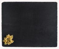 在一个黑板岩板的面团 背景查出的白色 免版税库存图片