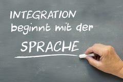 在一个黑板的手有德国人的措辞综合化beginnt m 免版税库存照片