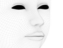 在一个黑栅格的女性面孔 免版税图库摄影