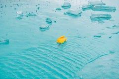 在一个水池的温度计在冰 库存图片
