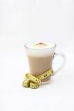 在一个玻璃杯子的饮食咖啡 库存图片