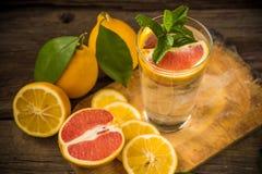 在一个玻璃烧杯的新鲜的柠檬水有冰的,绿色薄菏,红色orang 免版税库存图片