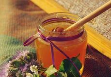 在一个玻璃瓶子和蜂蜂窝的蜂蜜用木表面上的花产蜜草本 免版税图库摄影