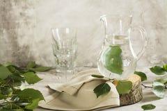 在一个玻璃瓶子的桦树树汁 库存照片