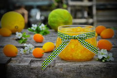在一个玻璃瓶子的橙皮马末兰果酱用新鲜水果 免版税库存照片