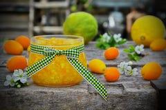在一个玻璃瓶子的橙皮马末兰果酱用新鲜水果 库存图片