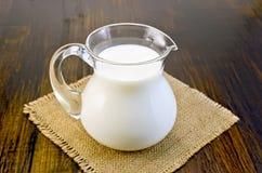 在一个玻璃瓶子的牛奶在袋装 免版税图库摄影