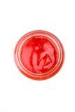 在一个玻璃瓶子的西红柿酱 库存图片