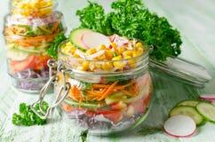 在一个玻璃瓶子的素食彩虹沙拉夏天野餐的 免版税库存照片
