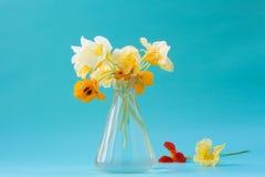 在一个玻璃花瓶的金莲花花 美丽的花束 浪漫 库存图片