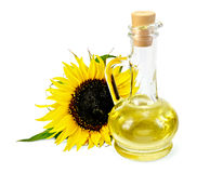 在一个玻璃水瓶的菜油用向日葵 免版税库存图片