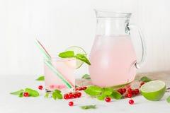 在一个玻璃水罐和玻璃的戒毒所水 莓果和石灰、红色和绿色 新鲜的叶子薄菏 复制空间 免版税图库摄影