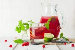 在一个玻璃水罐和玻璃的蜜饯 莓果和石灰、红色和绿色 新鲜的叶子薄菏 复制空间 免版税库存照片