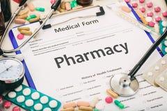 在一个医疗形式写的药房 免版税图库摄影