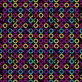 在一个黑背景难看的东西的荧光的圈子影响无缝的几何背景 图库摄影