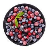 在一个黑色的盘子的冷冻水多和成熟莓果 免版税库存照片