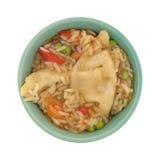 在一个绿色碗的素食potstickers膳食 库存照片