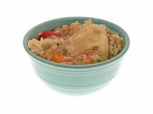 在一个绿色碗的素食potstickers膳食 免版税库存照片