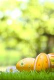 在一个绿色草甸, bokeh的复活节彩蛋在背景中 图库摄影