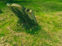 在一个绿色领域的坟墓 免版税库存图片