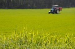 在一个绿色领域的拖拉机 免版税库存图片