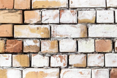 在一个建造场所的砖墙作为背景 免版税库存照片