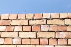 在一个建造场所的砖墙作为背景 图库摄影