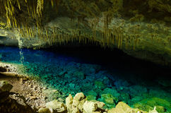 在一个洞里面的蓝色湖在东方狐鲣 免版税库存照片