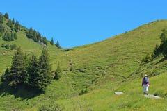 在一串足迹的家庭远足在瑞士阿尔卑斯 图库摄影