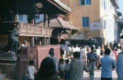 1975. 加德满都,尼泊尔。 寺庙。 库存照片