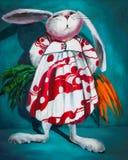 在一件礼服的滑稽的兔子用红萝卜 在画布的油画 库存图片