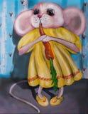在一件礼服的滑稽的老鼠用红萝卜 在画布的油画 免版税库存照片