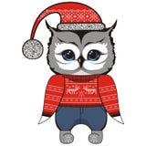 在一件红色毛线衣的甜圣诞节圣诞老人猫头鹰有鹿的和雪花、牛仔裤、盖帽和起动 免版税库存照片