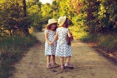 在一件美丽的礼服和秸杆夏天帽子的两个逗人喜爱的curlz孩子走开在森林或公园路的 拿着孪生的现有量 小孩f 免版税库存图片
