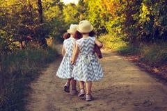 在一件美丽的礼服和秸杆夏天帽子的两个逗人喜爱的curlz孩子走开在森林或公园路的 拿着孪生的现有量 小孩f 免版税图库摄影