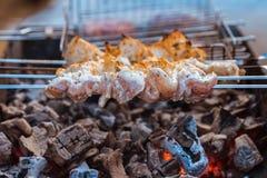 在一位热的火盆的水多的肉烤肉 图库摄影