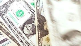 在一到十美国美元特写镜头的衡量单位的钞票 股票视频