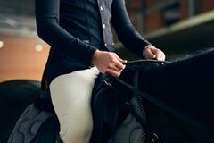 在一匹马的马车手在骑马竞技场 图库摄影