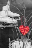 在一双冰鞋的背景的红色心脏 库存照片