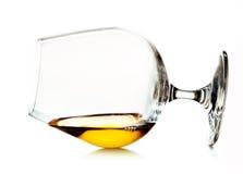 在一口威士忌酒的科涅克白兰地 库存图片