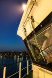 在一只大集装箱船上在晚上 库存照片