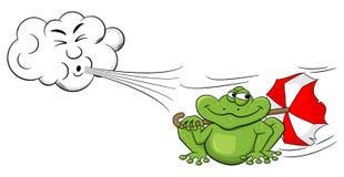 在一只青蛙的动画片云彩吹的风与伞 免版税库存照片