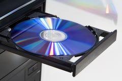 在一台台式计算机的球员的圆盘 免版税库存照片